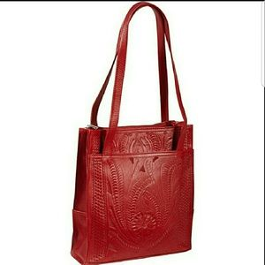 Ropin West Paraguay Red Tooling Tooled Purse